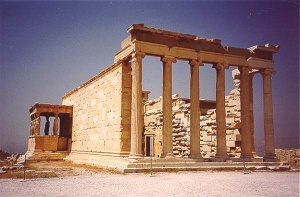 The Erechtheum, a temple located by the Acropolis in Athens.