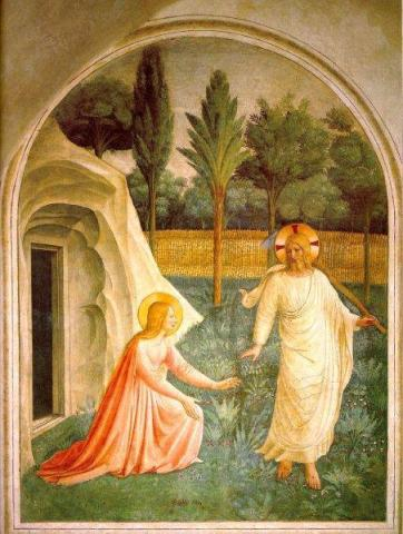 One of the many frescoes which adorn the cells. (Noli Me Tangere by Fra Angelico)